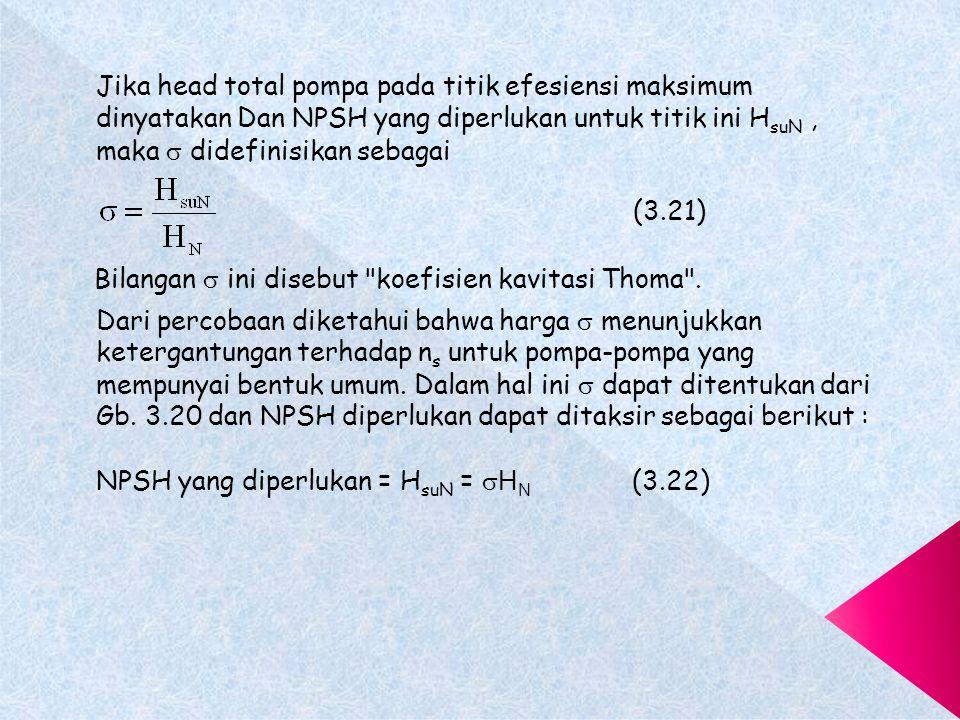 Jika head total pompa pada titik efesiensi maksimum dinyatakan Dan NPSH yang diperlukan untuk titik ini H suN, maka  didefinisikan sebagai (3.21) Bilangan  ini disebut koefisien kavitasi Thoma .