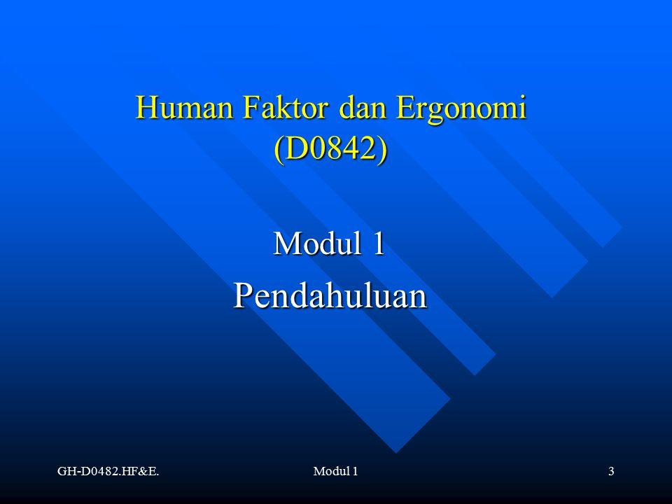 GH-D0482.HF&E.Modul 14 Pendahuluan Definisi Definisi Sejarah Sejarah Dasar Keilmuan dari Ergonomi Dasar Keilmuan dari Ergonomi Studi Tentang Sistem Kerja secara Global Studi Tentang Sistem Kerja secara Global