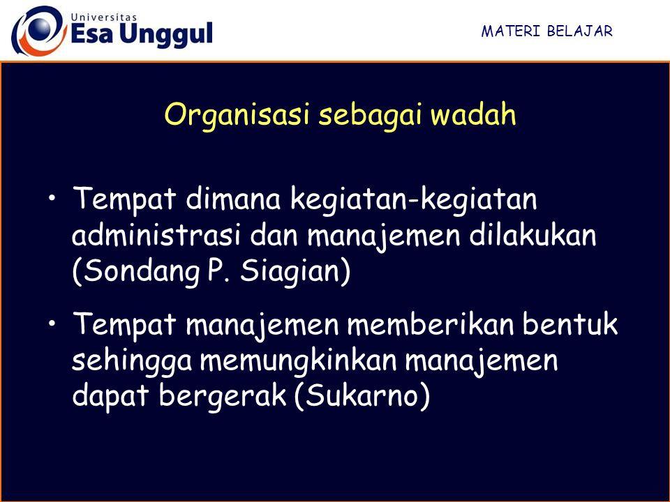 MATERI BELAJAR Tempat dimana kegiatan-kegiatan administrasi dan manajemen dilakukan (Sondang P.
