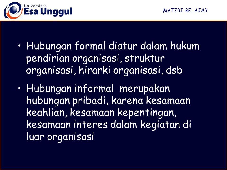 MATERI BELAJAR Hubungan formal diatur dalam hukum pendirian organisasi, struktur organisasi, hirarki organisasi, dsb Hubungan informal merupakan hubungan pribadi, karena kesamaan keahlian, kesamaan kepentingan, kesamaan interes dalam kegiatan di luar organisasi