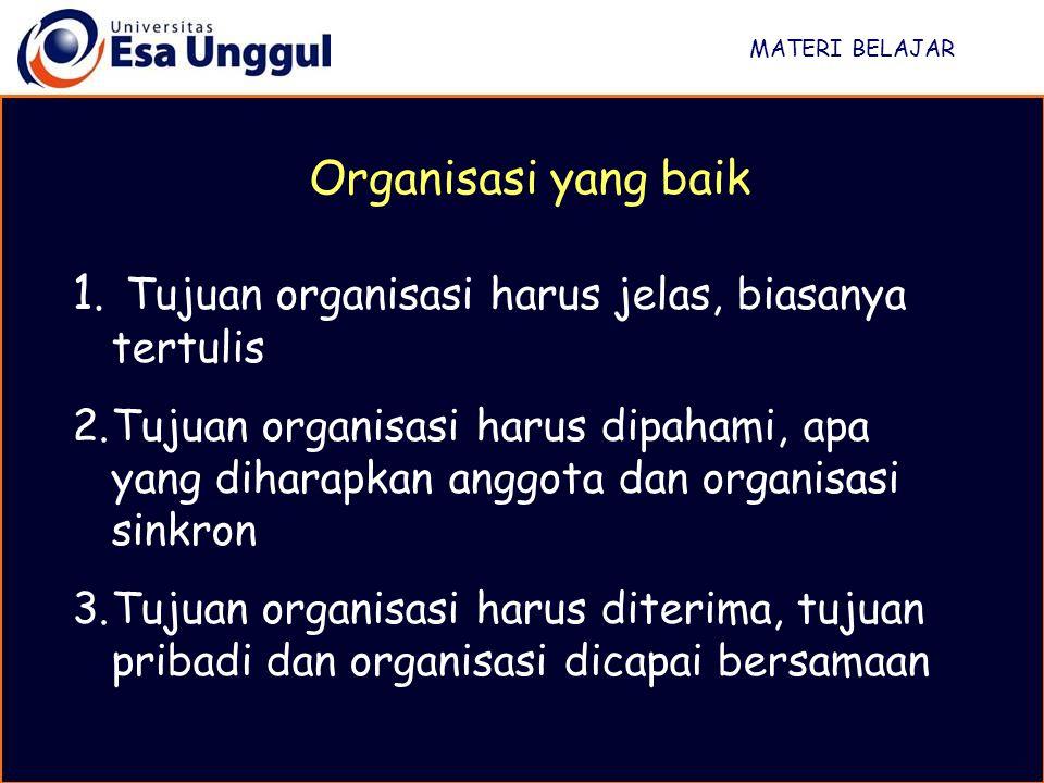 MATERI BELAJAR 4.Struktur organisasi disusun sesederhana mungkin, sesuai dengan kebutuhan 5.