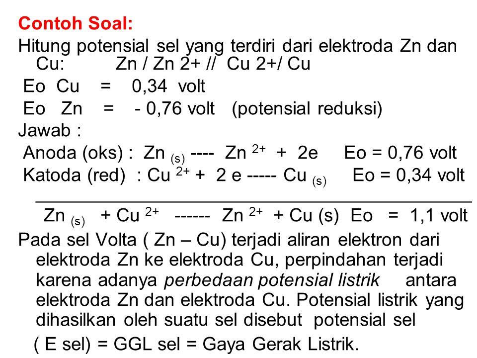 Contoh Soal: Hitung potensial sel yang terdiri dari elektroda Zn dan Cu: Zn / Zn 2+ // Cu 2+/ Cu Eo Cu = 0,34 volt Eo Zn = - 0,76 volt (potensial reduksi) Jawab : Anoda (oks) : Zn (s) ---- Zn 2+ + 2e Eo = 0,76 volt Katoda (red) : Cu 2+ + 2 e ----- Cu (s) Eo = 0,34 volt __________________________________________ Zn (s) + Cu 2+ ------ Zn 2+ + Cu (s) Eo = 1,1 volt Pada sel Volta ( Zn – Cu) terjadi aliran elektron dari elektroda Zn ke elektroda Cu, perpindahan terjadi karena adanya perbedaan potensial listrik antara elektroda Zn dan elektroda Cu.