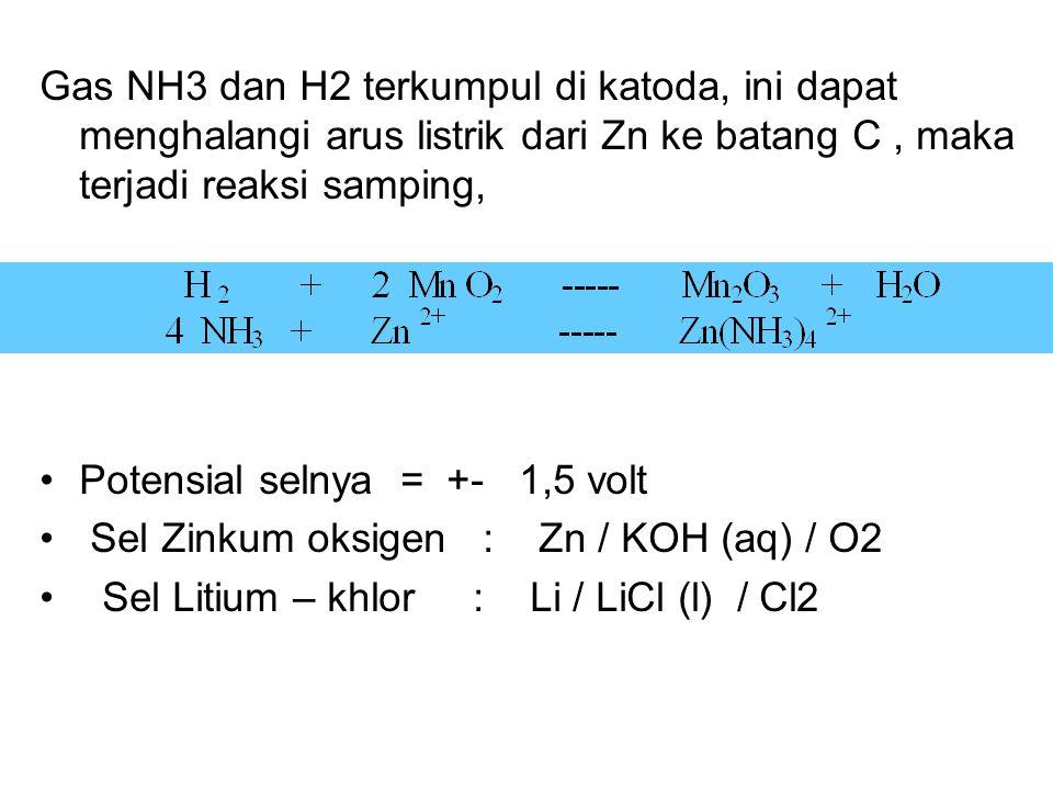 Gas NH3 dan H2 terkumpul di katoda, ini dapat menghalangi arus listrik dari Zn ke batang C, maka terjadi reaksi samping, Potensial selnya = +- 1,5 volt Sel Zinkum oksigen : Zn / KOH (aq) / O2 Sel Litium – khlor : Li / LiCl (l) / Cl2