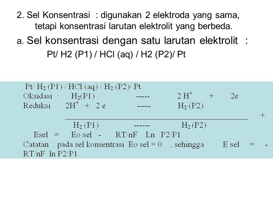 2. Sel Konsentrasi : digunakan 2 elektroda yang sama, tetapi konsentrasi larutan elektrolit yang berbeda. a. Sel konsentrasi dengan satu larutan elekt