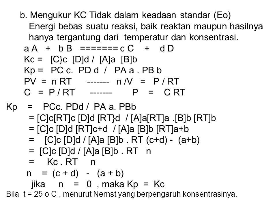 b. Mengukur KC Tidak dalam keadaan standar (Eo) Energi bebas suatu reaksi, baik reaktan maupun hasilnya hanya tergantung dari temperatur dan konsentra