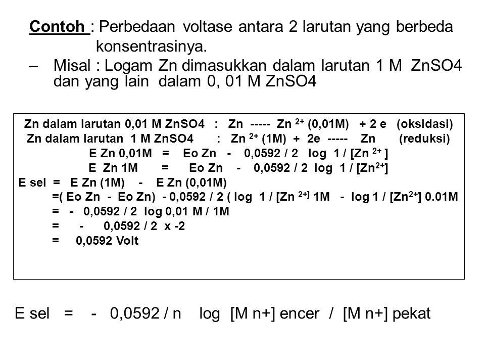 Contoh : Perbedaan voltase antara 2 larutan yang berbeda konsentrasinya.