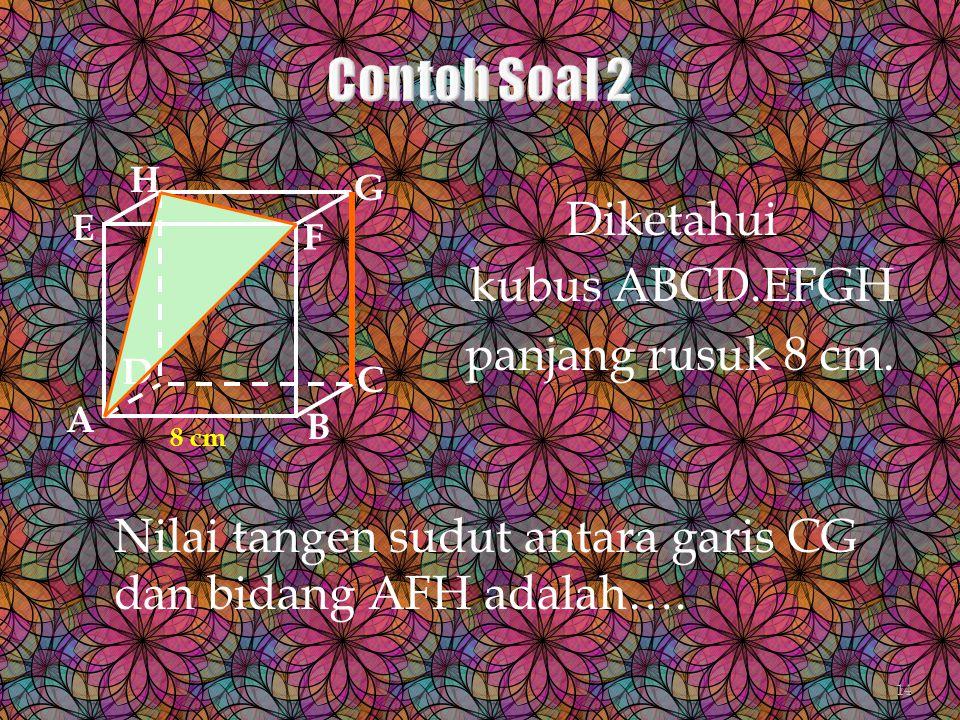Diketahui kubus ABCD.EFGH panjang rusuk 8 cm. A B C D H E F G 8 cm Nilai tangen sudut antara garis CG dan bidang AFH adalah…. 14