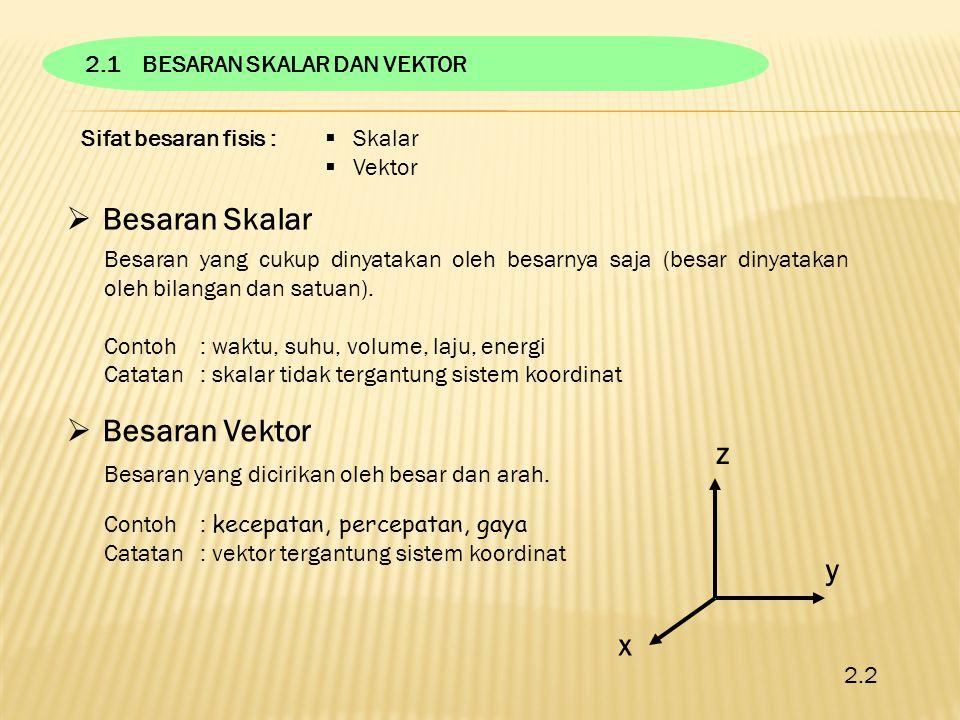 Sifat besaran fisis :  Skalar  Vektor  Besaran Skalar Besaran yang cukup dinyatakan oleh besarnya saja (besar dinyatakan oleh bilangan dan satuan).
