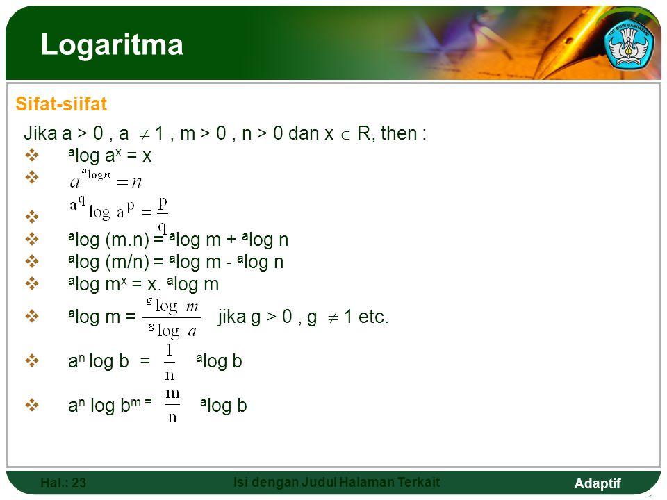 Adaptif Hal.: 22 Isi dengan Judul Halaman Terkait Logaritma  Perhatikan : a b = c a b = …. Mencari hasil pemangkatan … b = c mencari akar pangkat b d