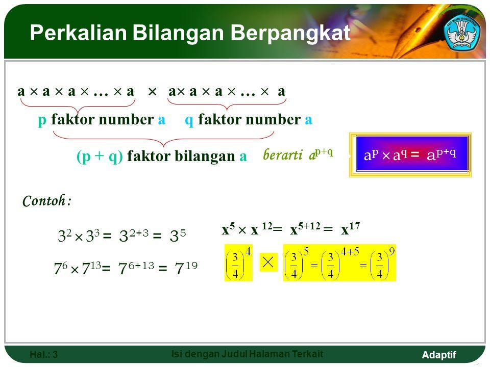 Adaptif Hal.: 2 Isi dengan Judul Halaman Terkait Sifat-sifat Bilangan Berpangkat 2  2  2  2 ...  2 Faktor n Dilambangkan dengan 2 n Definisi: 1)
