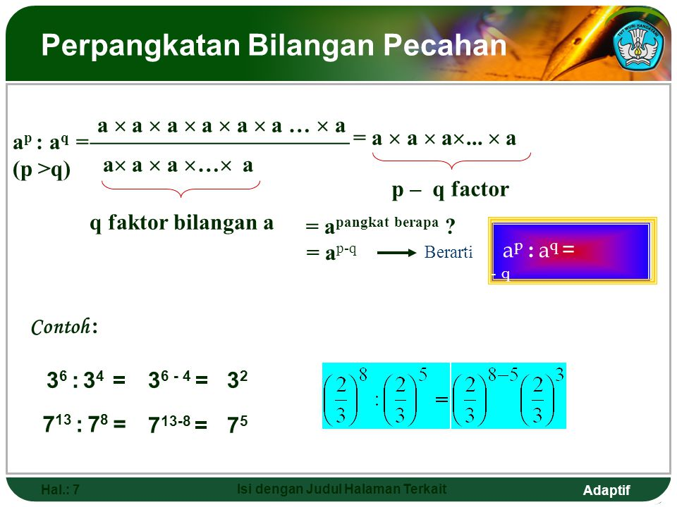 Adaptif Hal.: 6 Isi dengan Judul Halaman Terkait Perpangkatan dari perkalian dua atau lebih bilangan (ab) p =(ab)  (ab) ...  (ab) p faktor (ab) = (