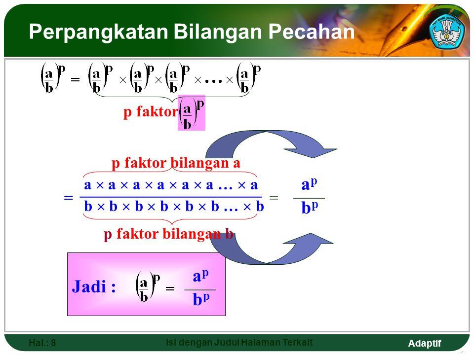 Adaptif Hal.: 7 Isi dengan Judul Halaman Terkait Perpangkatan Bilangan Pecahan a  a  a  a  a  a …  a a  a  a  …  a Berarti q faktor bilangan a = a pangkat berapa .