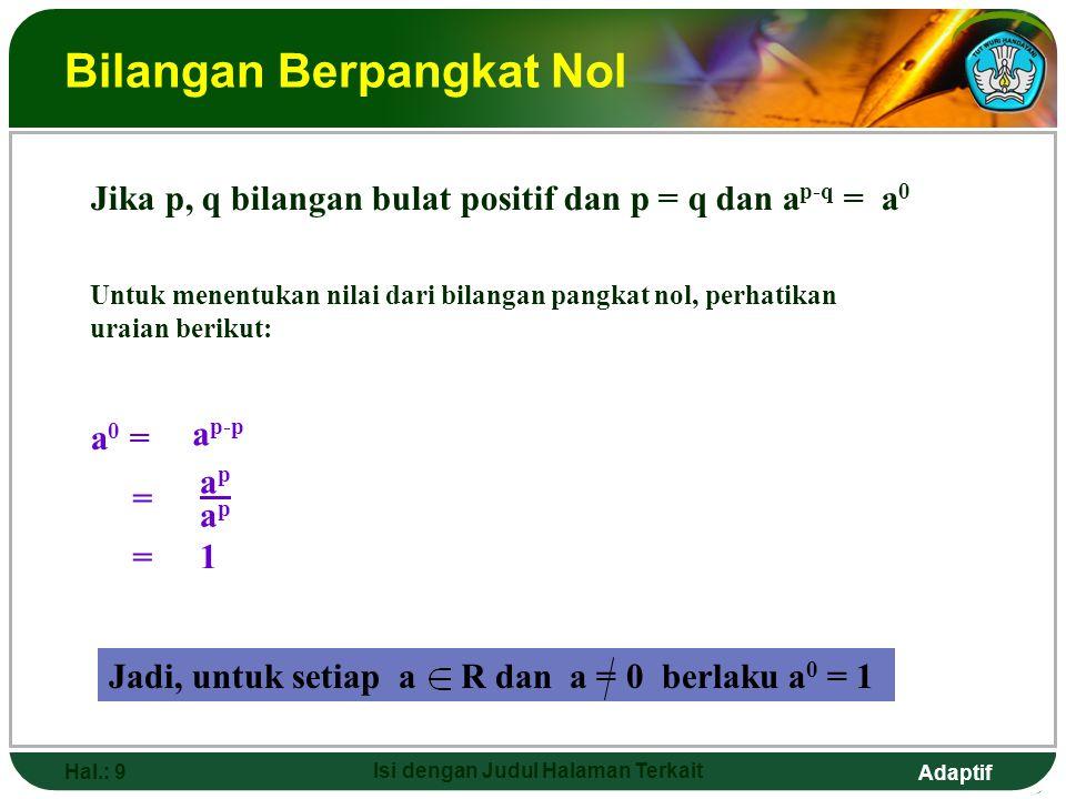 Adaptif Hal.: 8 Isi dengan Judul Halaman Terkait Perpangkatan Bilangan Pecahan p faktor = a  a  a  a  a  a …  a _______________________ b  b  b  b  b  b …  b p faktor bilangan a = apap ____ p faktor bilangan b bpbp Jadi : apap ____ bpbp