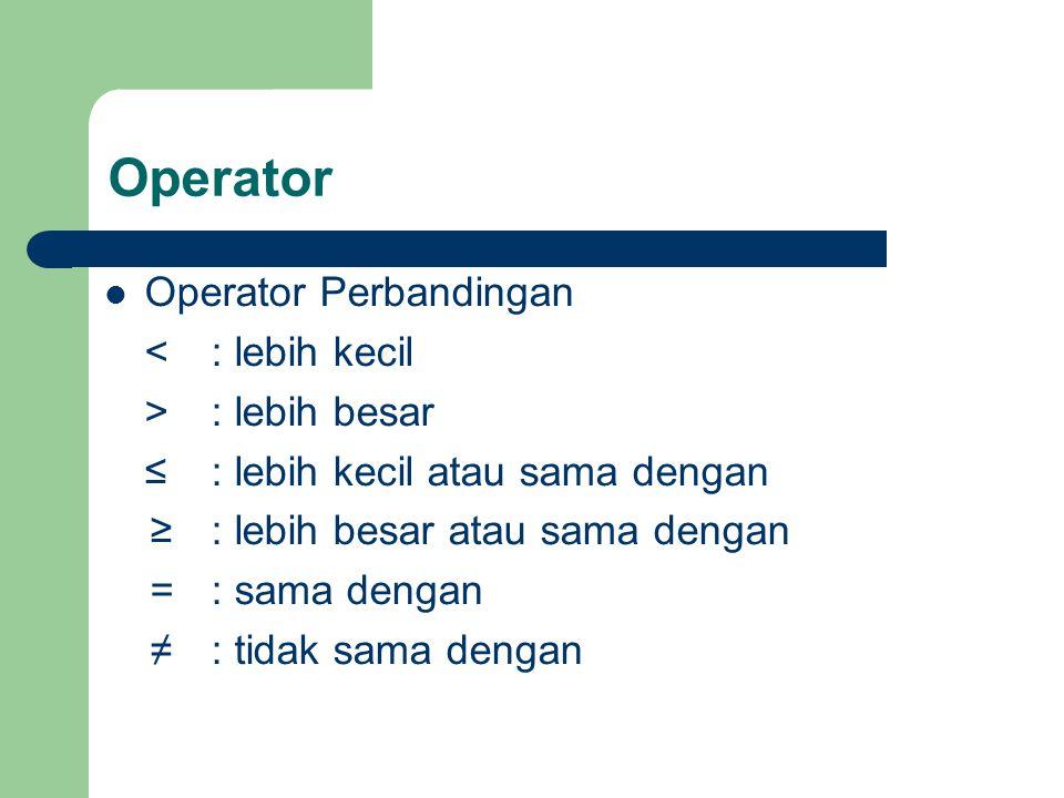 Operator Logika not: bernilai kebalikan dari nilai operand and : bernilai true bila kedua operand bernilai true or: bernilai true bila salah satu operand bernilai true xor: bernilai true bila diantara operand saling berlawanan nilainya Operator