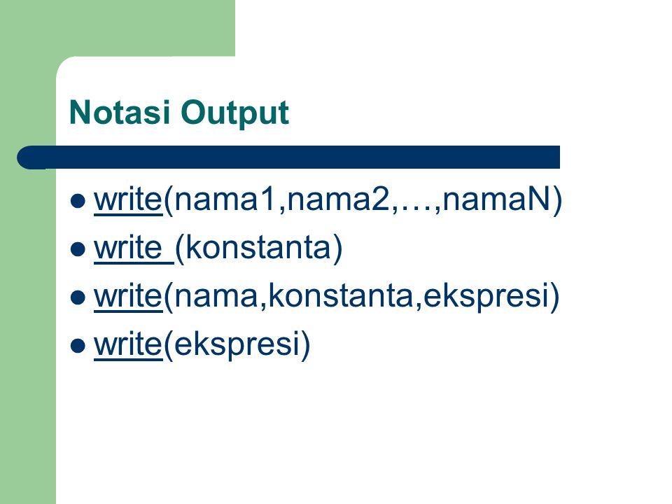 Contoh write(bilangan1) write('Nilai bilangan 1',bilangan1) write ('Total', bil1+bil2) write(bilangan1 * bilangan2)