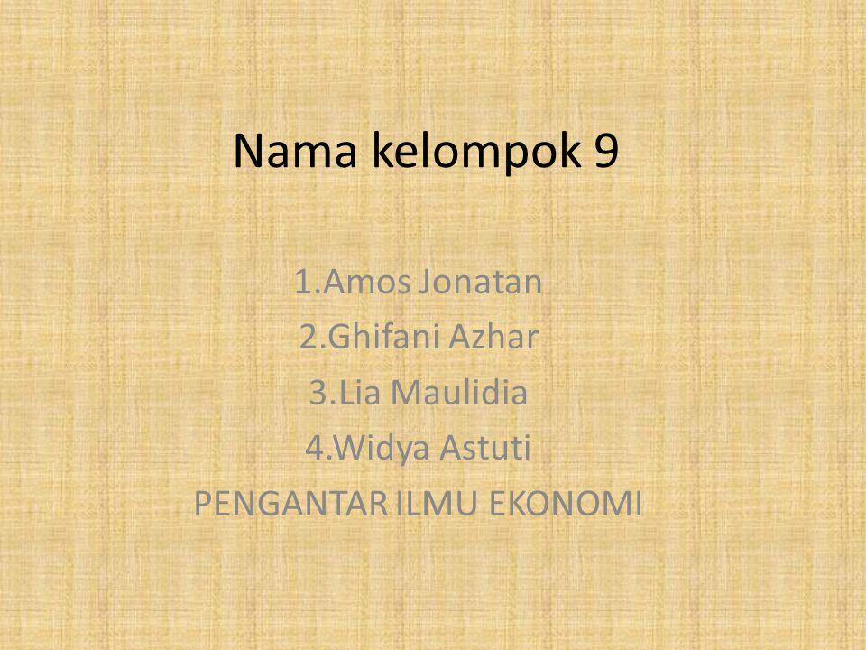 Nama kelompok 9 1.Amos Jonatan 2.Ghifani Azhar 3.Lia Maulidia 4.Widya Astuti PENGANTAR ILMU EKONOMI