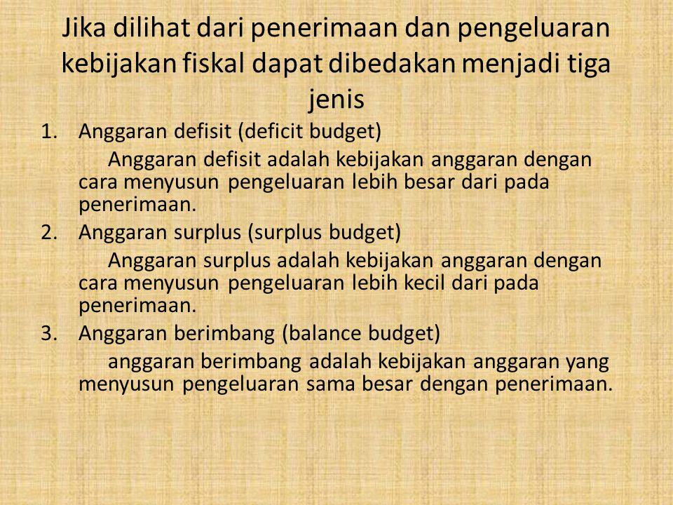 Jika dilihat dari penerimaan dan pengeluaran kebijakan fiskal dapat dibedakan menjadi tiga jenis 1.Anggaran defisit (deficit budget) Anggaran defisit