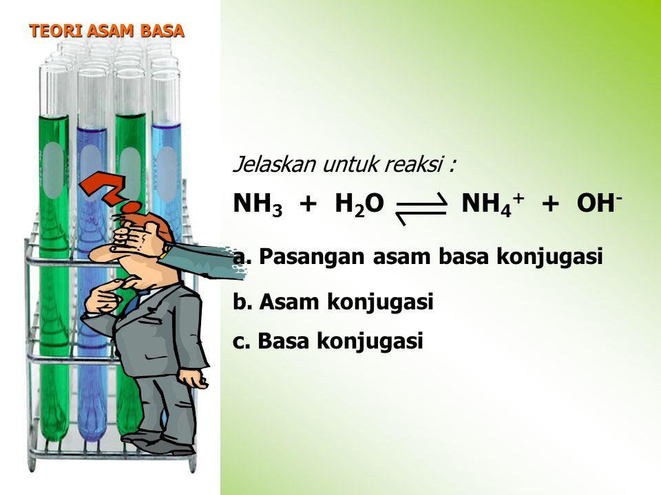 TEORI ASAM BASA Jelaskan untuk reaksi : NH 3 + H 2 O NH 4 + + OH - a.