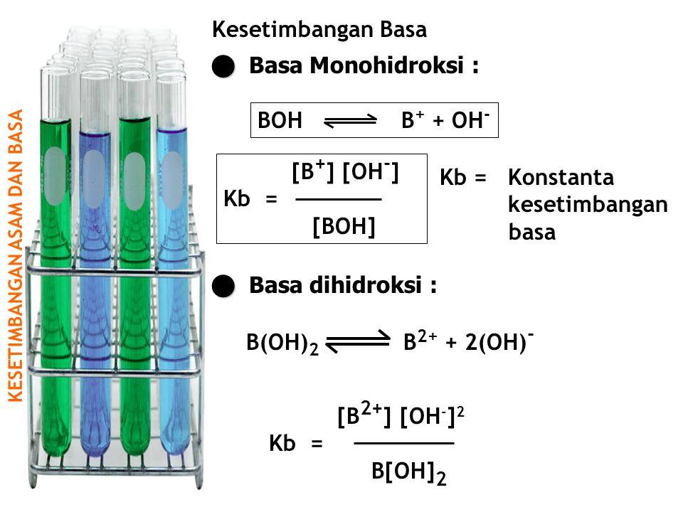 K E S E T I M B A N G A N A S A M D A N B A S A Kesetimbangan Basa Basa Monohidroksi : [B + ] [OH - ] Kb = [BOH] BOH B + + OH - Kb =Konstanta kesetimbangan basa Basa dihidroksi : B(OH) 2 B 2+ + 2(OH) - [B 2+ ] [OH - ] 2 Kb = B[OH] 2