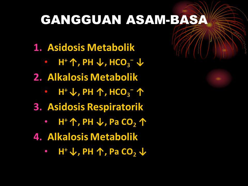 ASIDOSIS METABOLIK ETIO : 1.Penambahan asam baru dalam plasma : Asidosis laktat Ketoasidosis Produksi asam TGI ↑ Infeksi Keracunan alkohol 2.Kehilangan bikarbonat Melalui TGI: diare, ileus Melalui Ginjal: RTA (Renal Tubular Asidosis)