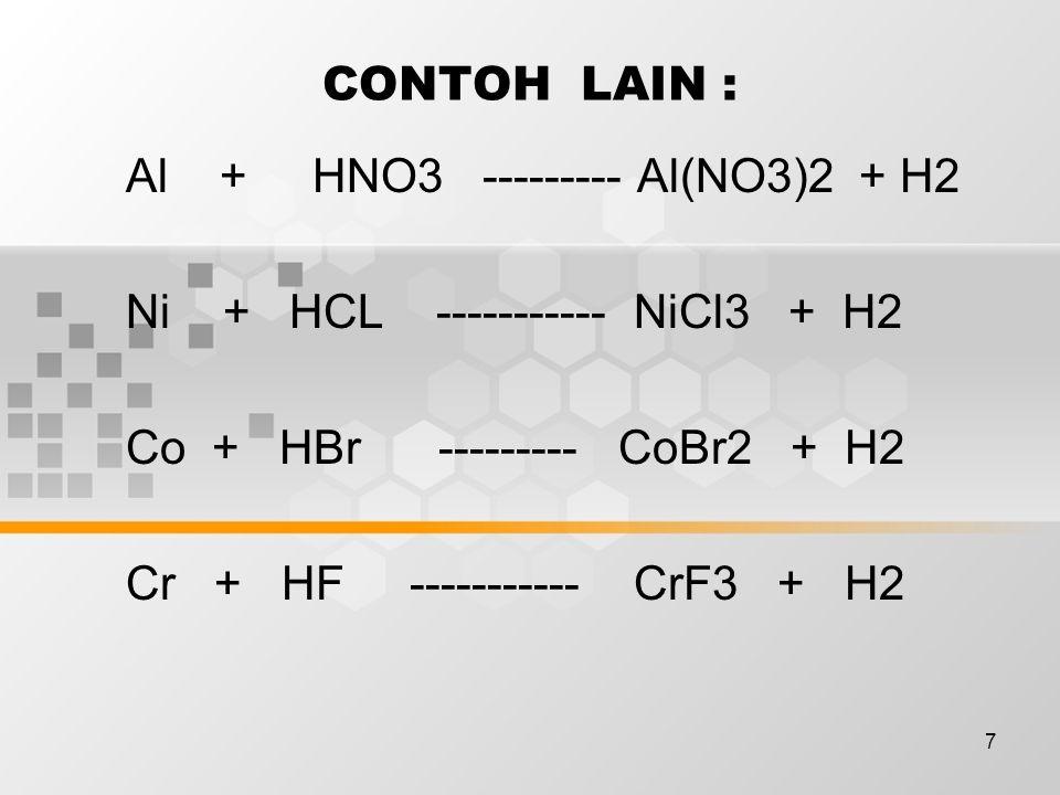 7 CONTOH LAIN : Al + HNO3 --------- Al(NO3)2 + H2 Ni + HCL ----------- NiCl3 + H2 Co + HBr --------- CoBr2 + H2 Cr + HF ----------- CrF3 + H2