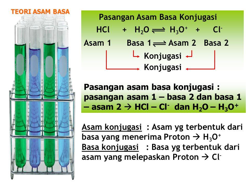 TEORI ASAM BASA Pasangan Asam Basa Konjugasi HCl + H 2 O H 3 O + + Cl - Asam 1 Basa 1 Asam 2 Basa 2 Konjugasi Konjugasi Pasangan asam basa konjugasi :
