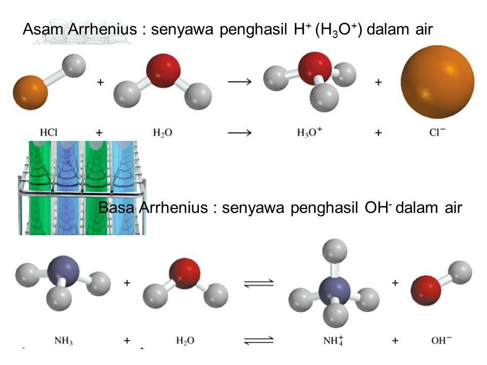 Asam Arrhenius : senyawa penghasil H + (H 3 O + ) dalam air Basa Arrhenius : senyawa penghasil OH - dalam air