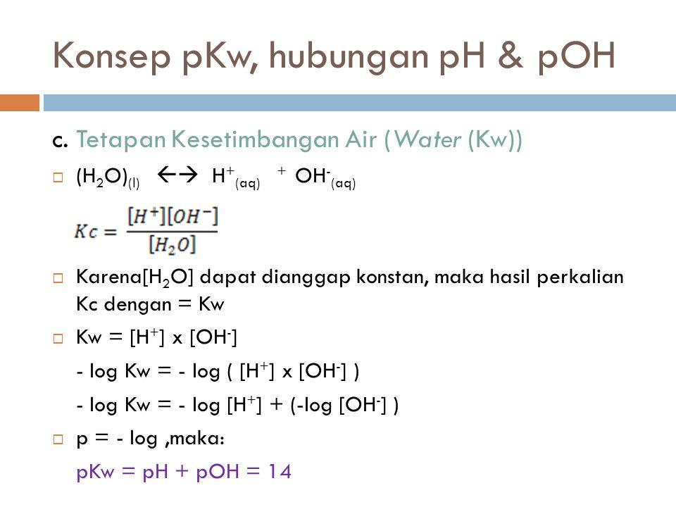 Konsep pKw, hubungan pH & pOH c. Tetapan Kesetimbangan Air (Water (Kw))  (H 2 O) (l)  H + (aq) + OH - (aq)  Karena[H 2 O] dapat dianggap konstan,