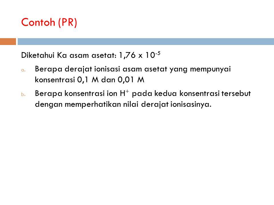 Contoh (PR) Diketahui Ka asam asetat: 1,76 x 10 -5 a.