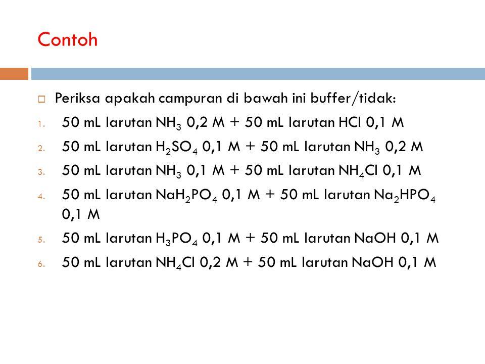 Contoh  Periksa apakah campuran di bawah ini buffer/tidak: 1. 50 mL larutan NH 3 0,2 M + 50 mL larutan HCl 0,1 M 2. 50 mL larutan H 2 SO 4 0,1 M + 50