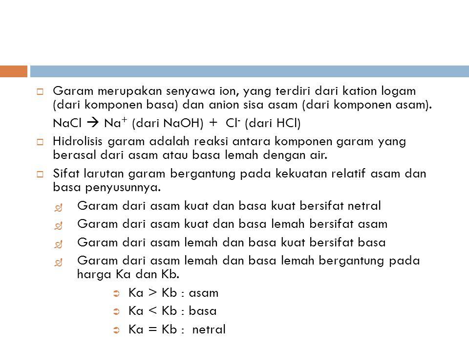  Garam merupakan senyawa ion, yang terdiri dari kation logam (dari komponen basa) dan anion sisa asam (dari komponen asam). NaCl  Na + (dari NaOH) +