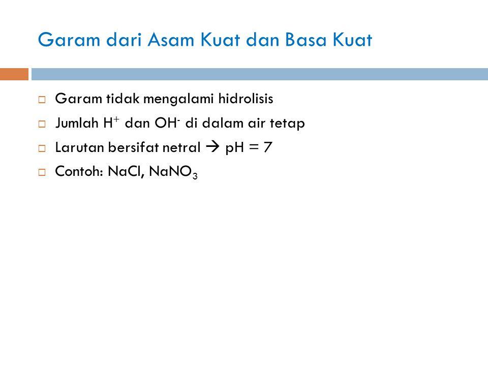 Garam dari Asam Kuat dan Basa Kuat  Garam tidak mengalami hidrolisis  Jumlah H + dan OH - di dalam air tetap  Larutan bersifat netral  pH = 7  Contoh: NaCl, NaNO 3