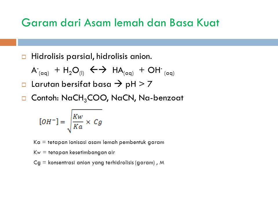 Garam dari Asam lemah dan Basa Kuat  Hidrolisis parsial, hidrolisis anion. A - (aq) + H 2 O (l)  HA (aq) + OH - (aq)  Larutan bersifat basa  pH >
