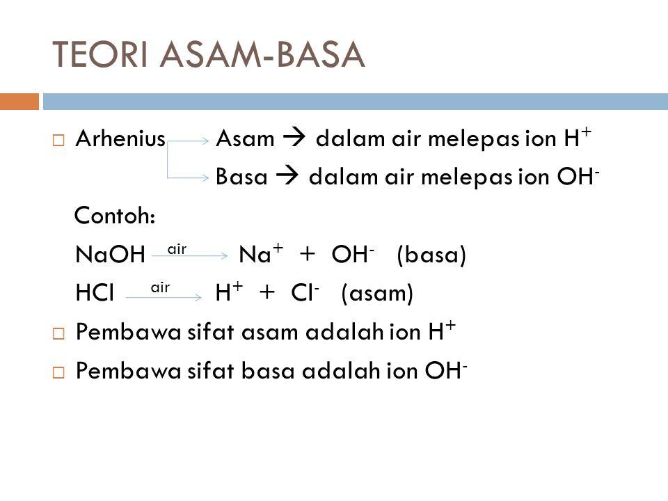 TEORI ASAM-BASA  Arhenius Asam  dalam air melepas ion H + Basa  dalam air melepas ion OH - Contoh: NaOH air Na + + OH - (basa) HCl air H + + Cl - (asam)  Pembawa sifat asam adalah ion H +  Pembawa sifat basa adalah ion OH -