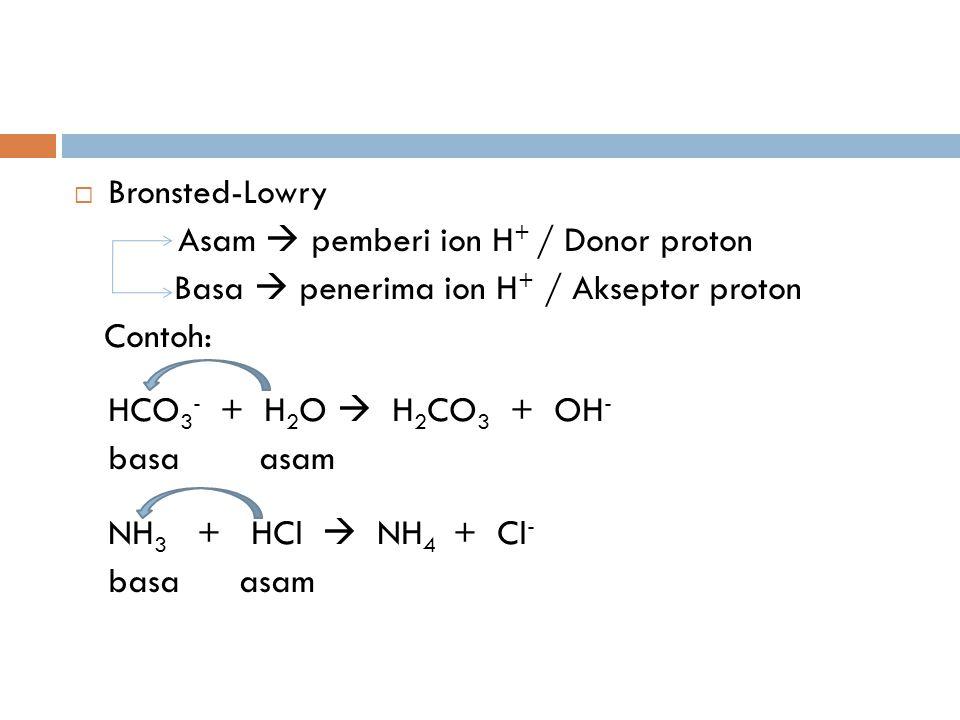  Bronsted-Lowry Asam  pemberi ion H + / Donor proton Basa  penerima ion H + / Akseptor proton Contoh: HCO 3 - + H 2 O  H 2 CO 3 + OH - basa asam NH 3 + HCl  NH 4 + Cl - basa asam