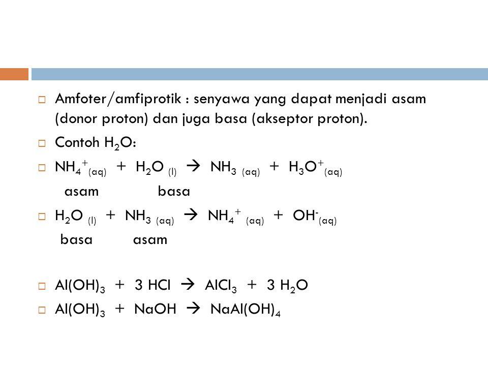  Lewis Asam Lewis  penerima pasangan e bebas Basa Lewis  pemberi pasangan e bebas Contoh: H 3 N: + H + NH 4 + basa asam H 2 O + H + H 3 O + CaO + CO 2 CaCO 3 dalam pembentukan garam NH 3 + BF 3 H 3 N:BF 3 tersebut tidak perlu ada Na 2 O + SO 3 Na 2 SO 4 proton