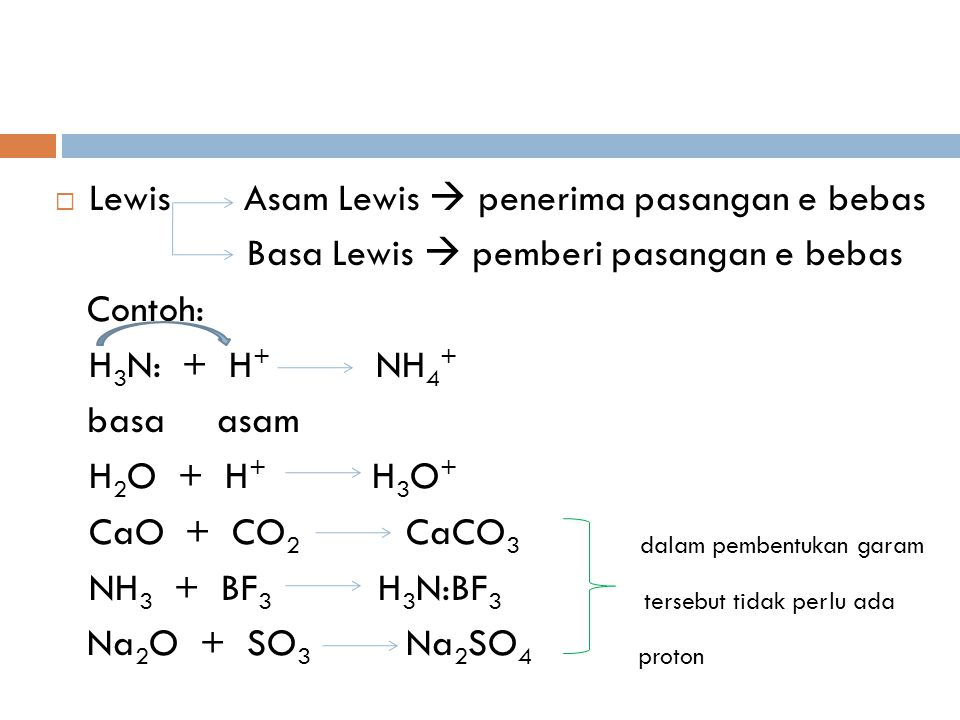  Lewis Asam Lewis  penerima pasangan e bebas Basa Lewis  pemberi pasangan e bebas Contoh: H 3 N: + H + NH 4 + basa asam H 2 O + H + H 3 O + CaO + C