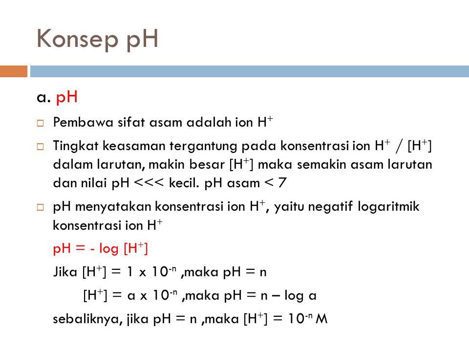 Konsep pH a. pH  Pembawa sifat asam adalah ion H +  Tingkat keasaman tergantung pada konsentrasi ion H + / [H + ] dalam larutan, makin besar [H + ]