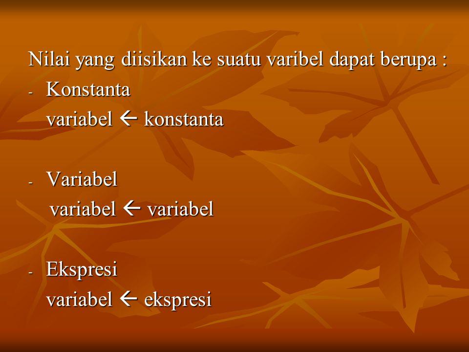 Nilai yang diisikan ke suatu varibel dapat berupa : - Konstanta variabel  konstanta - Variabel variabel  variabel variabel  variabel - Ekspresi variabel  ekspresi