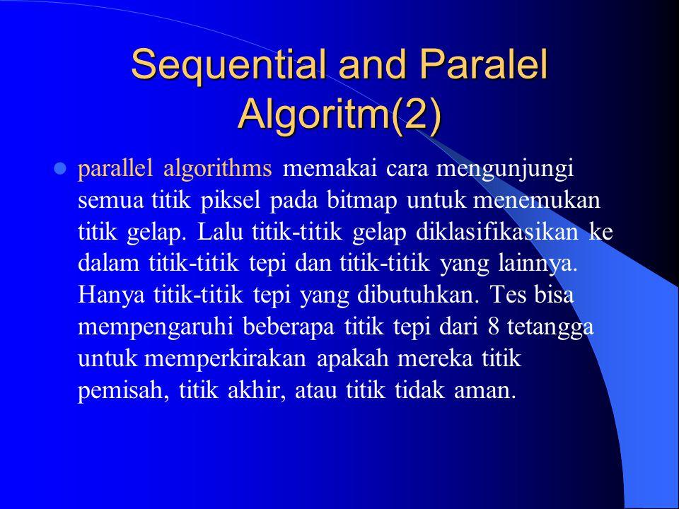 Sequential and Paralel Algoritm(2) parallel algorithms memakai cara mengunjungi semua titik piksel pada bitmap untuk menemukan titik gelap. Lalu titik