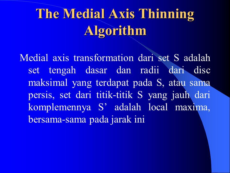 The Medial Axis Thinning Algorithm Medial axis transformation dari set S adalah set tengah dasar dan radii dari disc maksimal yang terdapat pada S, atau sama persis, set dari titik-titik S yang jauh dari komplemennya S' adalah local maxima, bersama-sama pada jarak ini