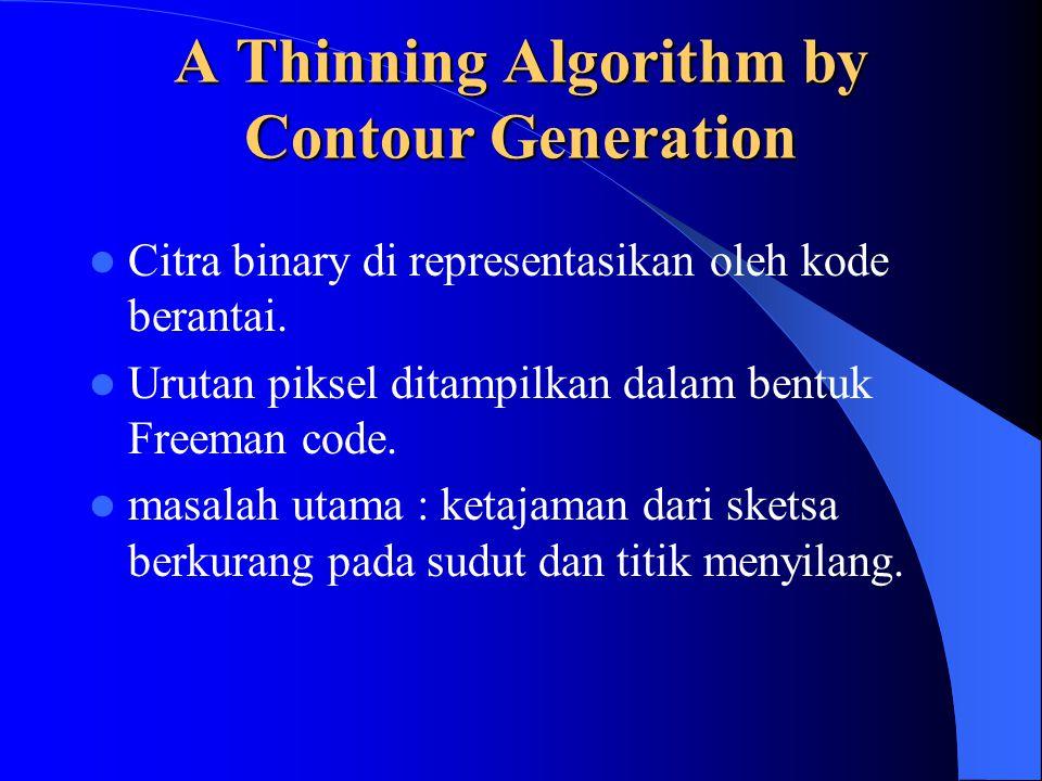 A Thinning Algorithm by Contour Generation Citra binary di representasikan oleh kode berantai. Urutan piksel ditampilkan dalam bentuk Freeman code. ma