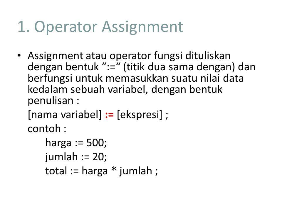 """1. Operator Assignment Assignment atau operator fungsi dituliskan dengan bentuk """":="""" (titik dua sama dengan) dan berfungsi untuk memasukkan suatu nila"""