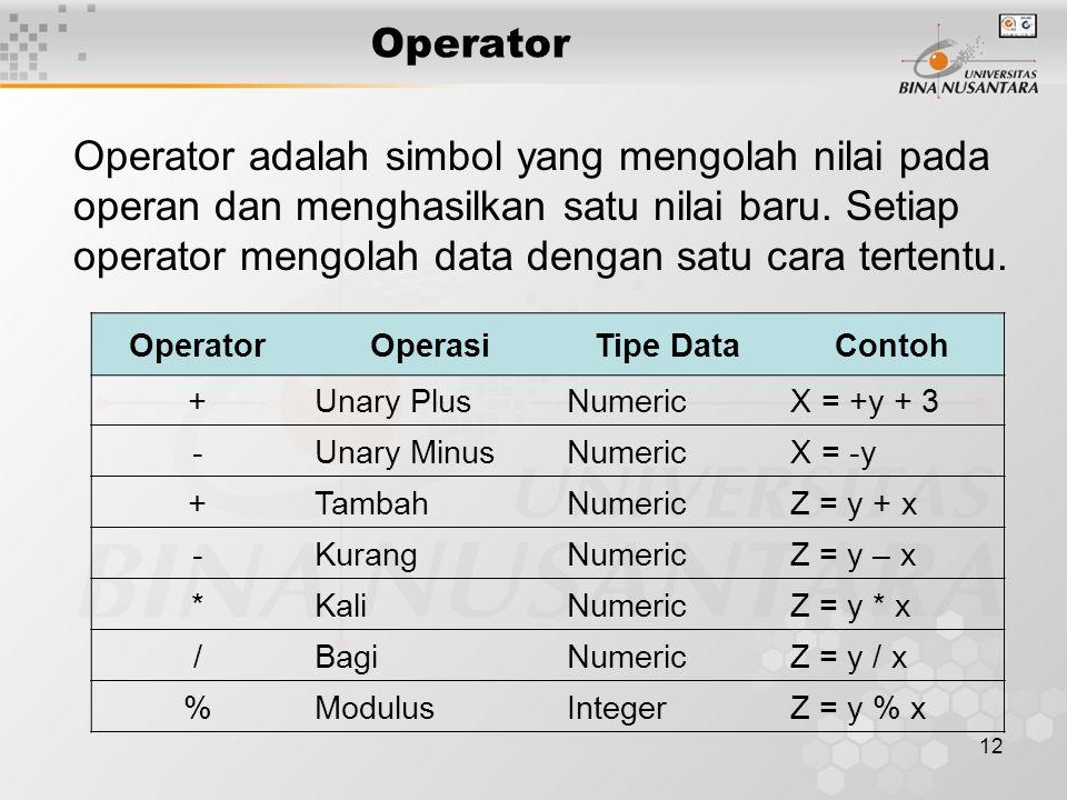 12 Operator adalah simbol yang mengolah nilai pada operan dan menghasilkan satu nilai baru.