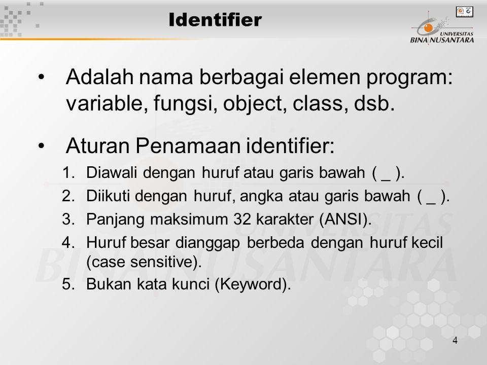 4 Adalah nama berbagai elemen program: variable, fungsi, object, class, dsb.