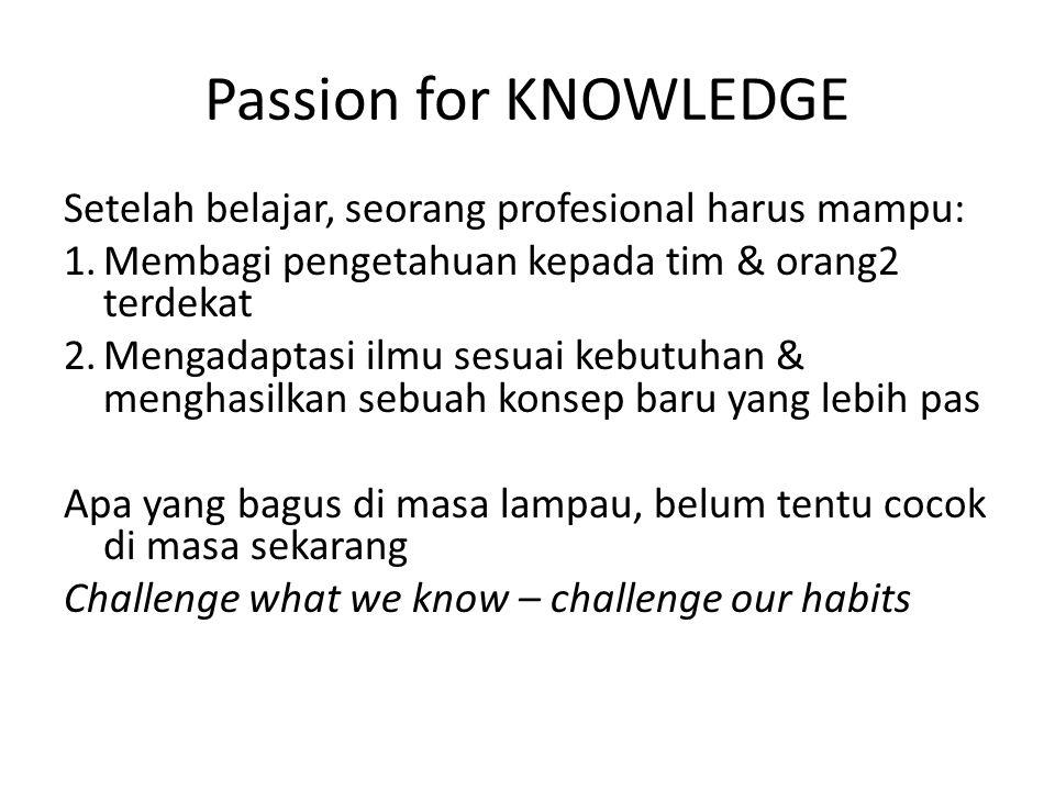 Passion for KNOWLEDGE Setelah belajar, seorang profesional harus mampu: 1.Membagi pengetahuan kepada tim & orang2 terdekat 2.Mengadaptasi ilmu sesuai