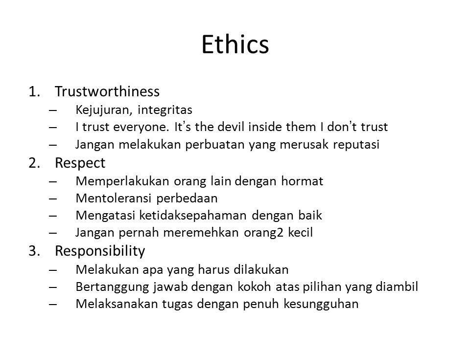 1.Trustworthiness – Kejujuran, integritas – I trust everyone. It's the devil inside them I don't trust – Jangan melakukan perbuatan yang merusak reput