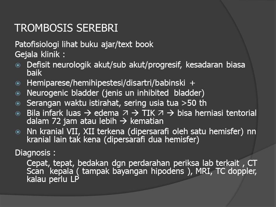 Patofisiologi lihat buku ajar/text book Gejala klinik :  Defisit neurologik akut/sub akut/progresif, kesadaran biasa baik  Hemiparese/hemihipestesi/