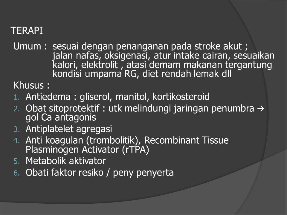 TERAPI Umum : sesuai dengan penanganan pada stroke akut ; jalan nafas, oksigenasi, atur intake cairan, sesuaikan kalori, elektrolit, atasi demam makan