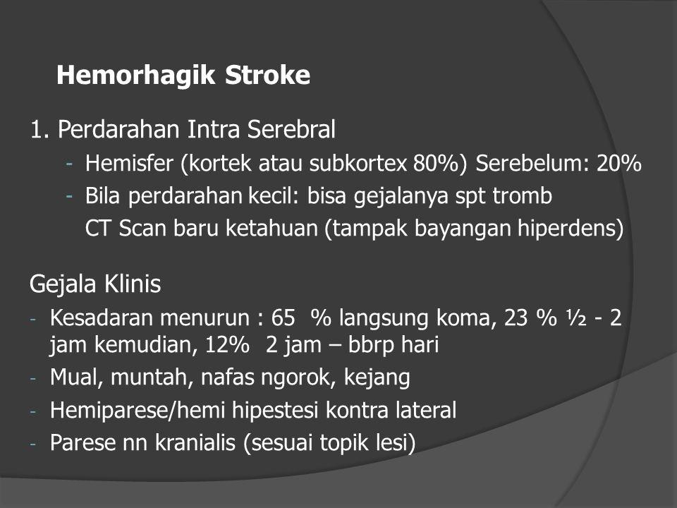 Hemorhagik Stroke 1. Perdarahan Intra Serebral - Hemisfer (kortek atau subkortex 80%) Serebelum: 20% - Bila perdarahan kecil: bisa gejalanya spt tromb